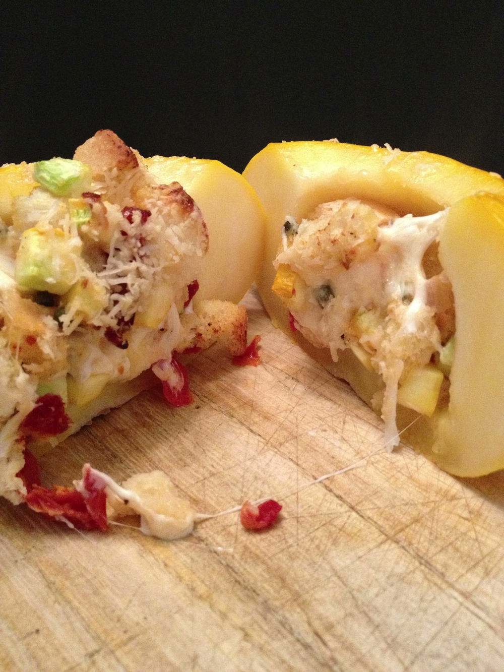 Baked Pattypan with Italian stuffing