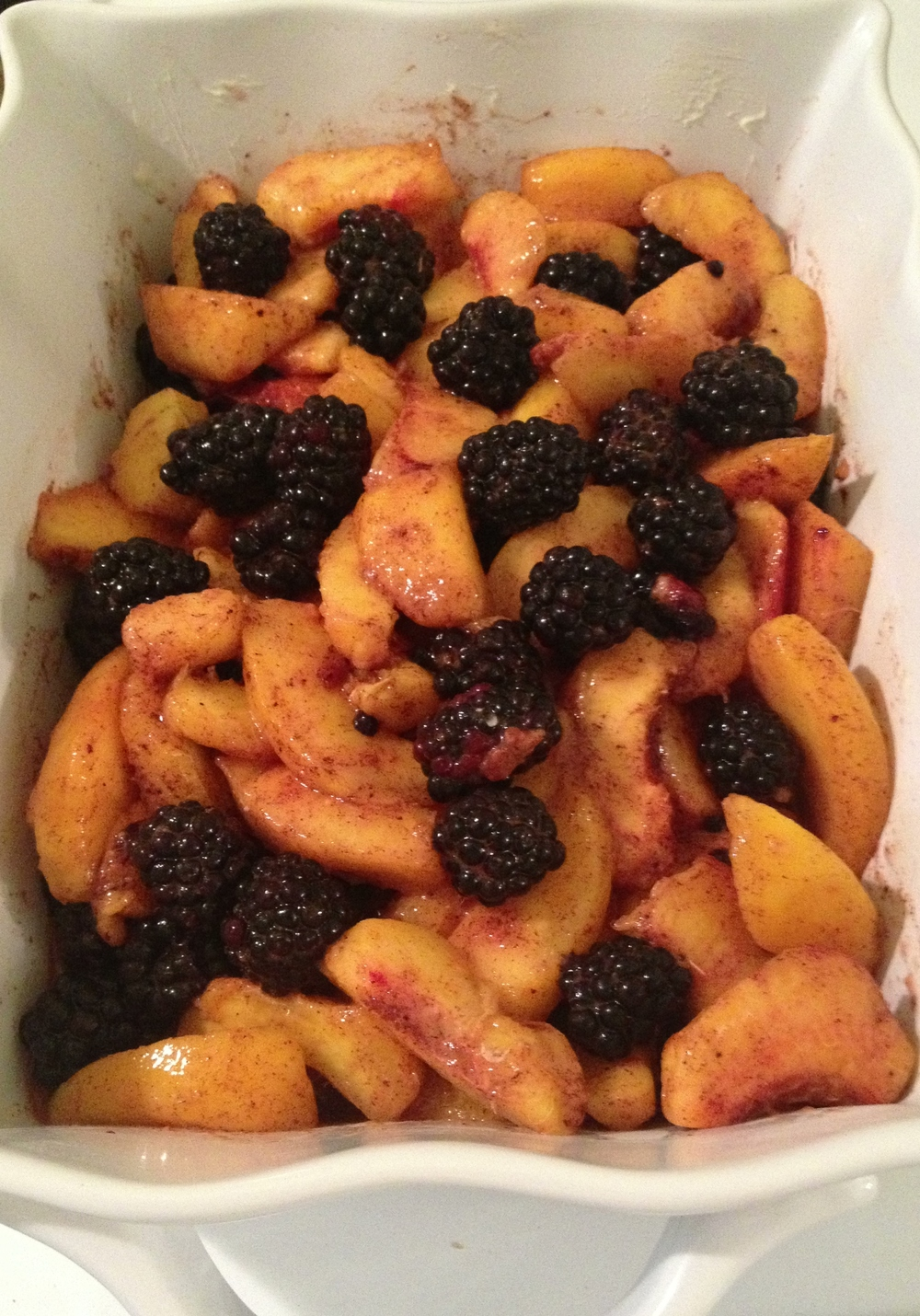 Blackberries, peaches, and spices