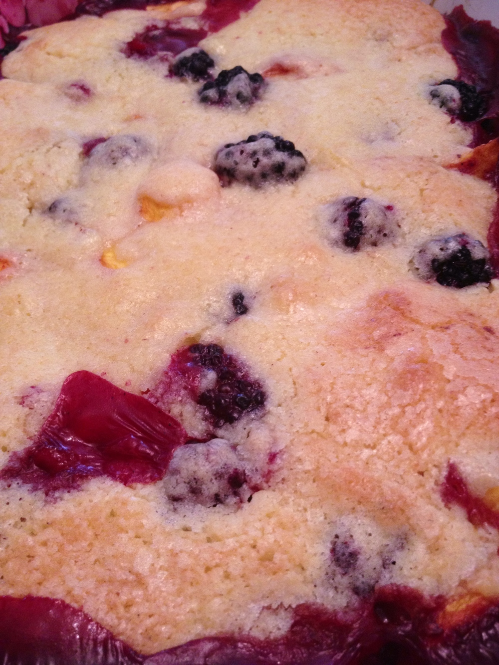 Blackberry peach cobbler out of the oven