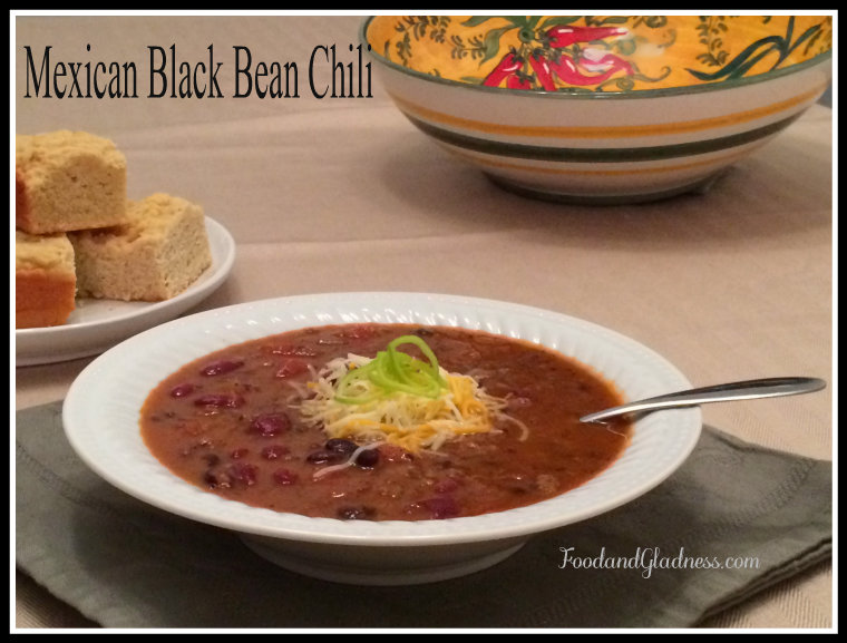 Mexican Black bean chili food and gladness