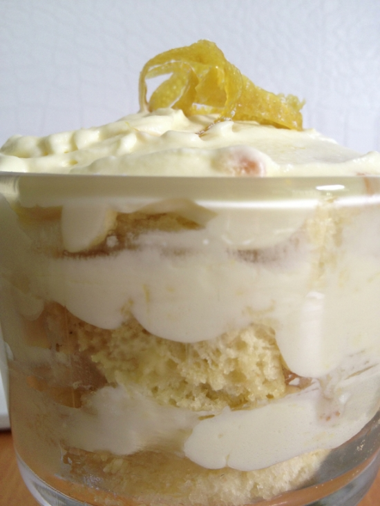 Lemon Tiramisu {garnished with candied lemon peel and powdered sugar}