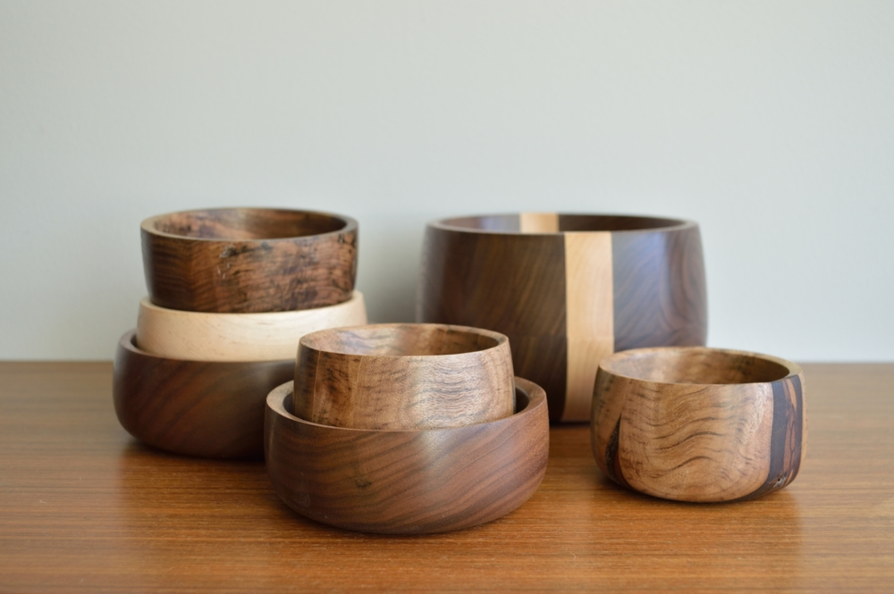 walnut and maple bowls