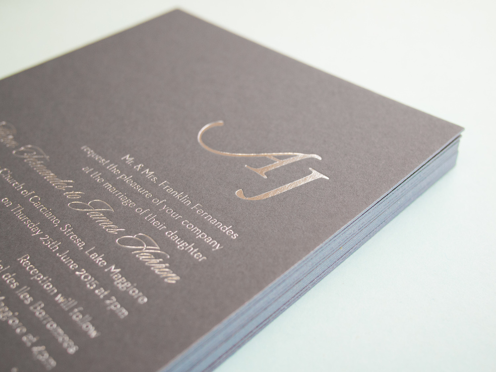 Silver Foil Invitation With Edge Paint