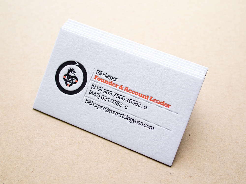 Immortology Letterpress Business Card