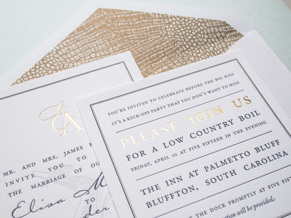 Letterpress + Foil Invitation Set