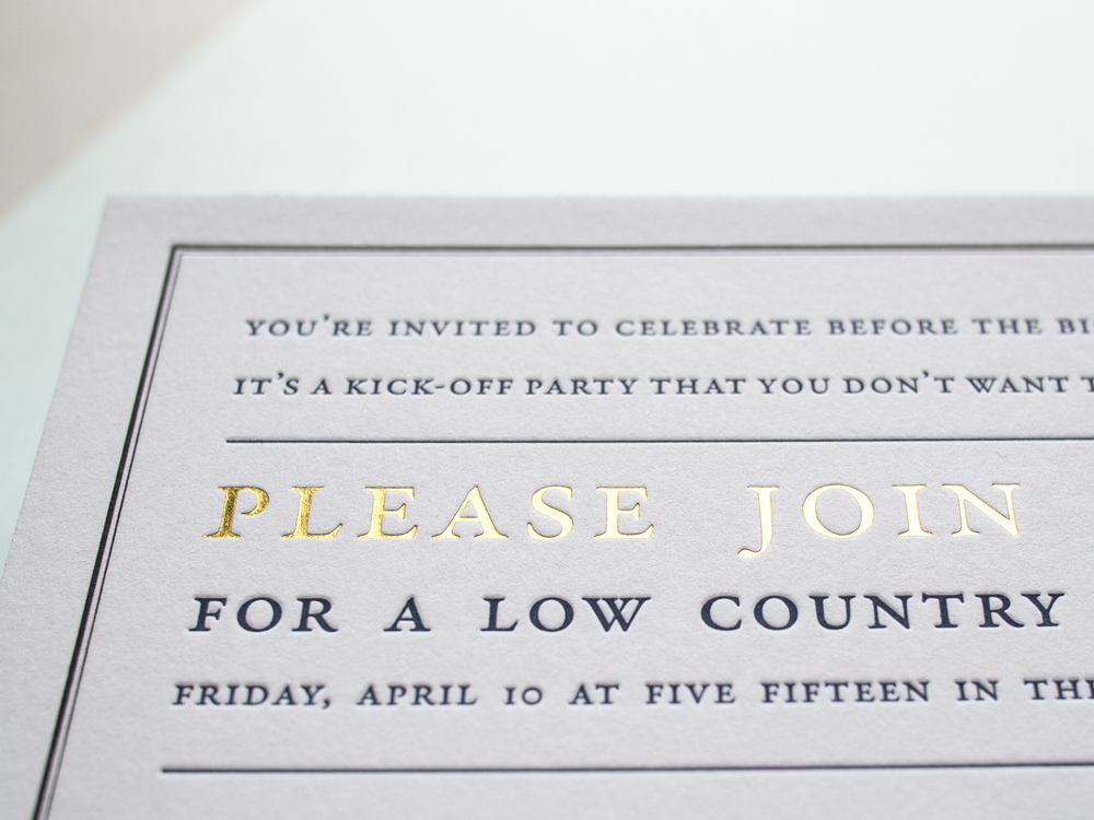 Letterpress + Foil Party Invitation