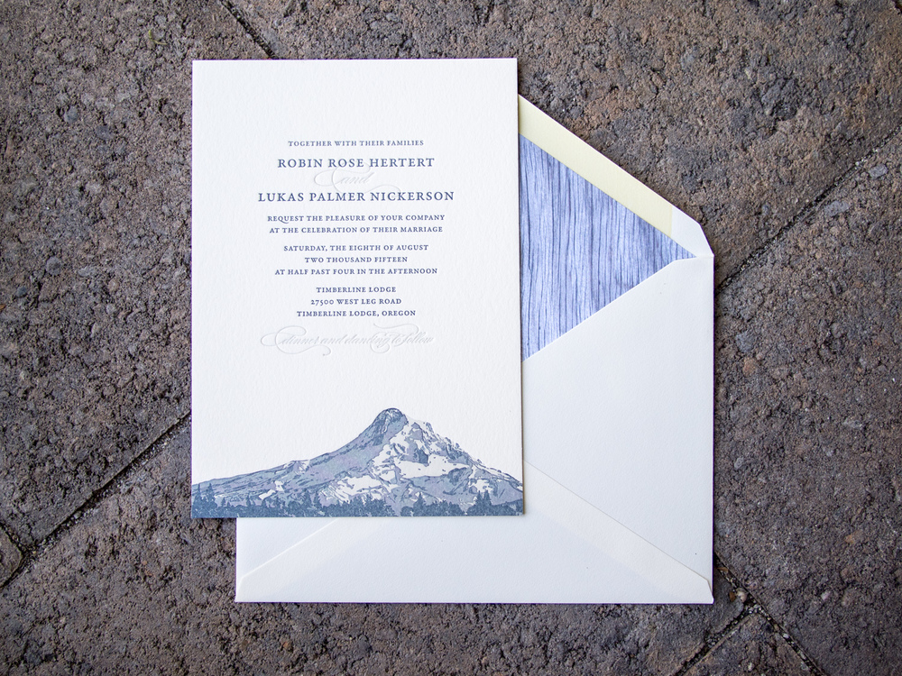 Mount Hood Letterpress Invitation