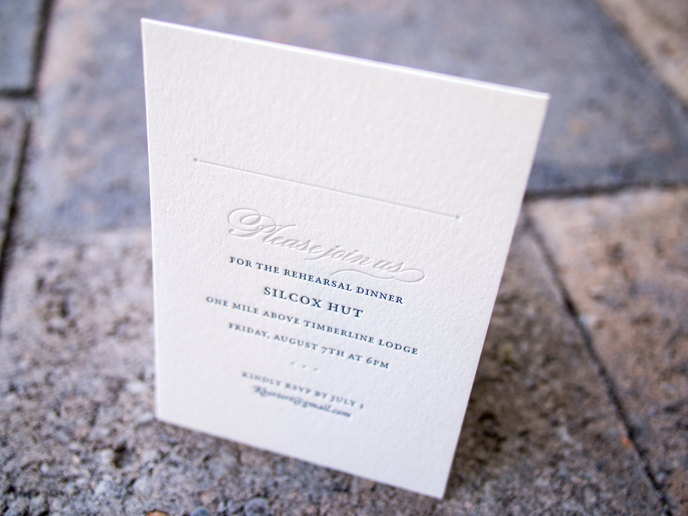 Letterpress Rehearsal Dinner Invitation