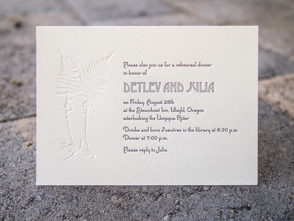 Fern Letterpress Invitation