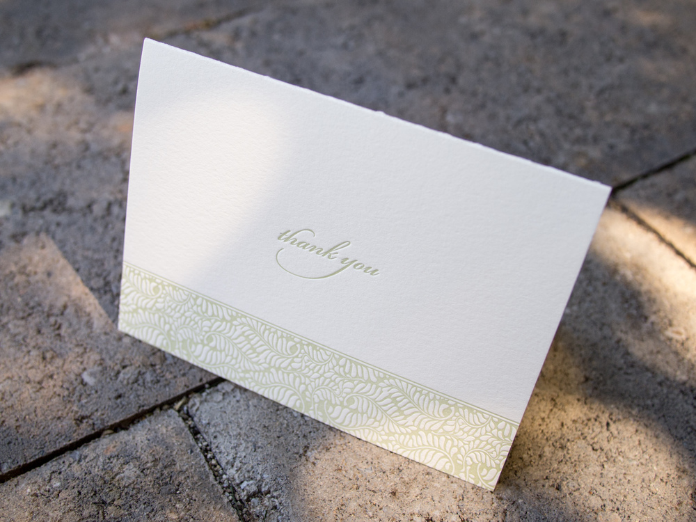 Fern Letterpress Thank You Note