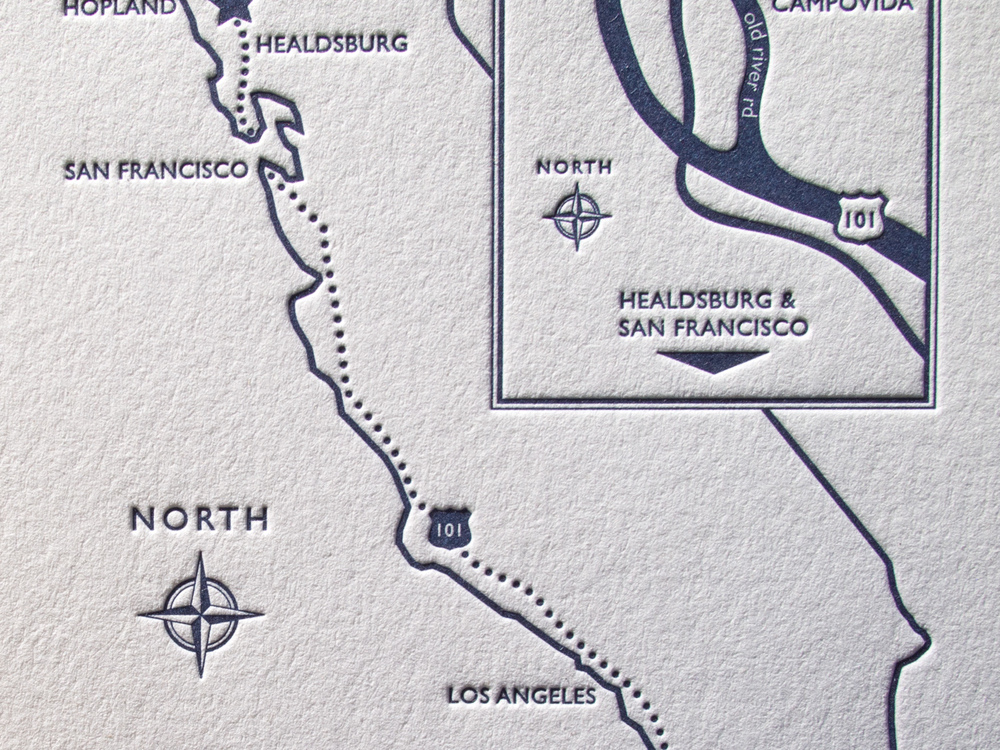 Letterpress Map Close Up
