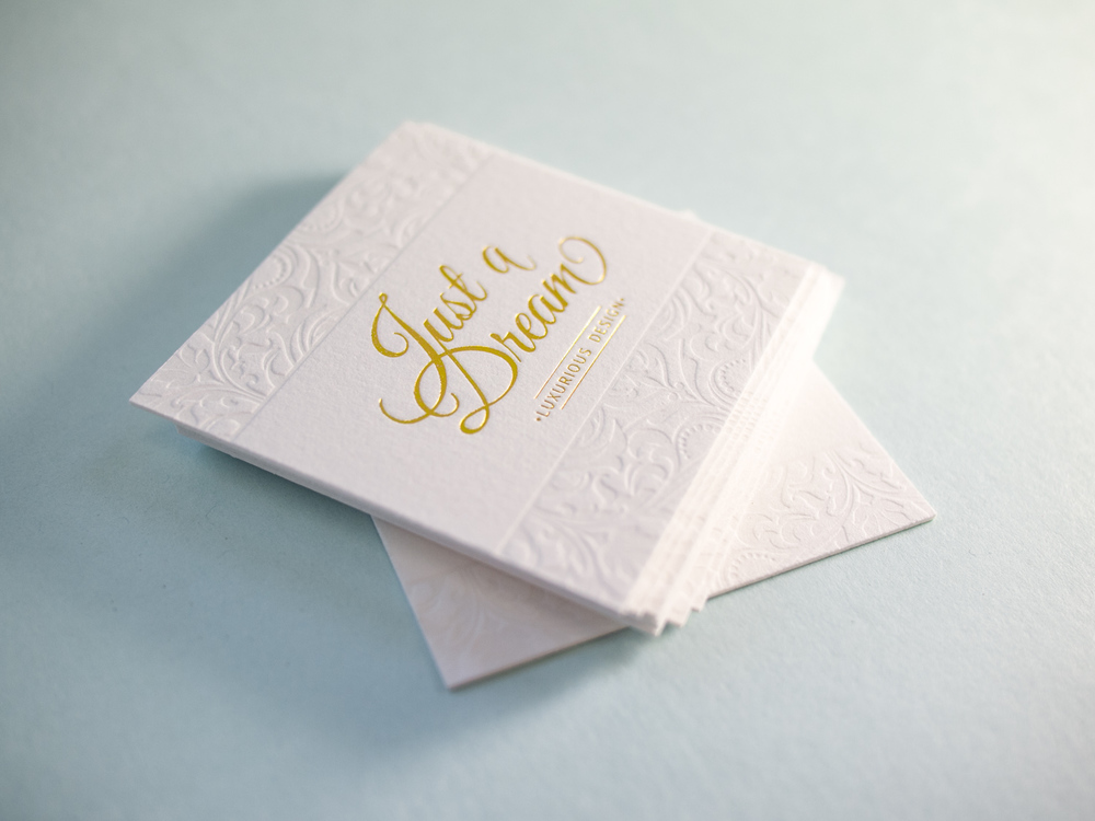 Blind Letterpress and Gold Foil