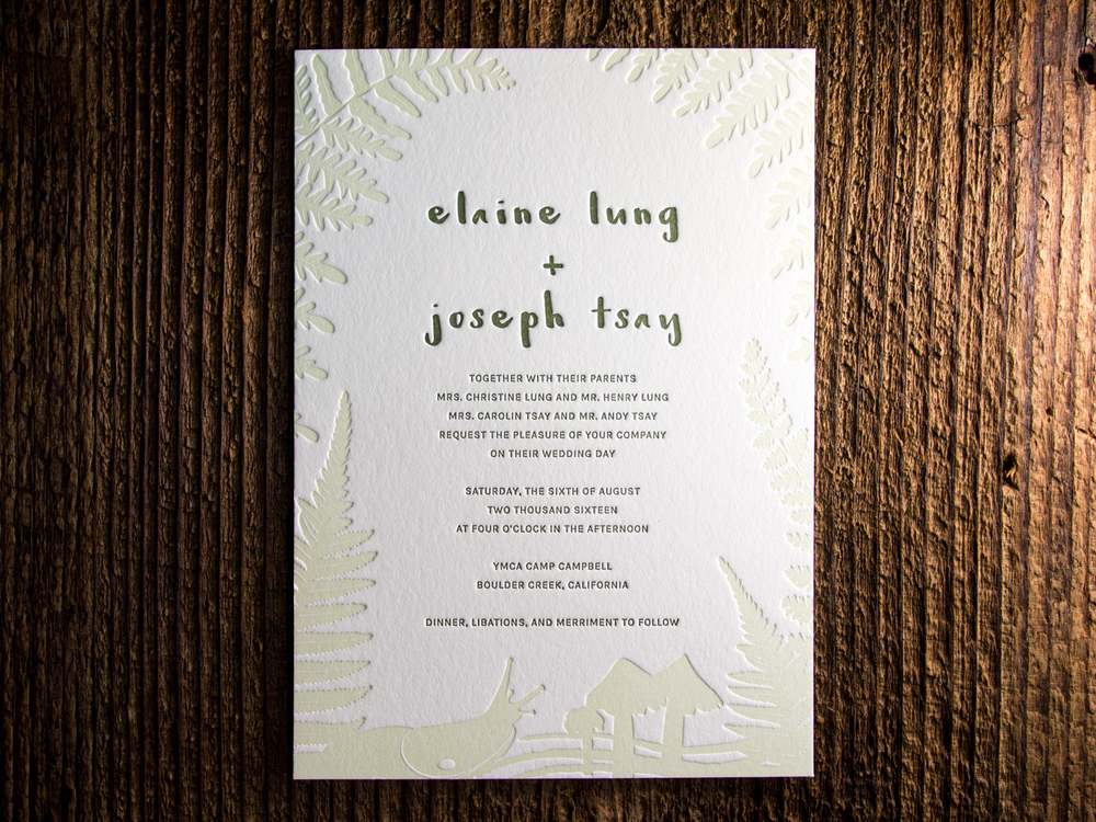 Forest Letterpress Invitation