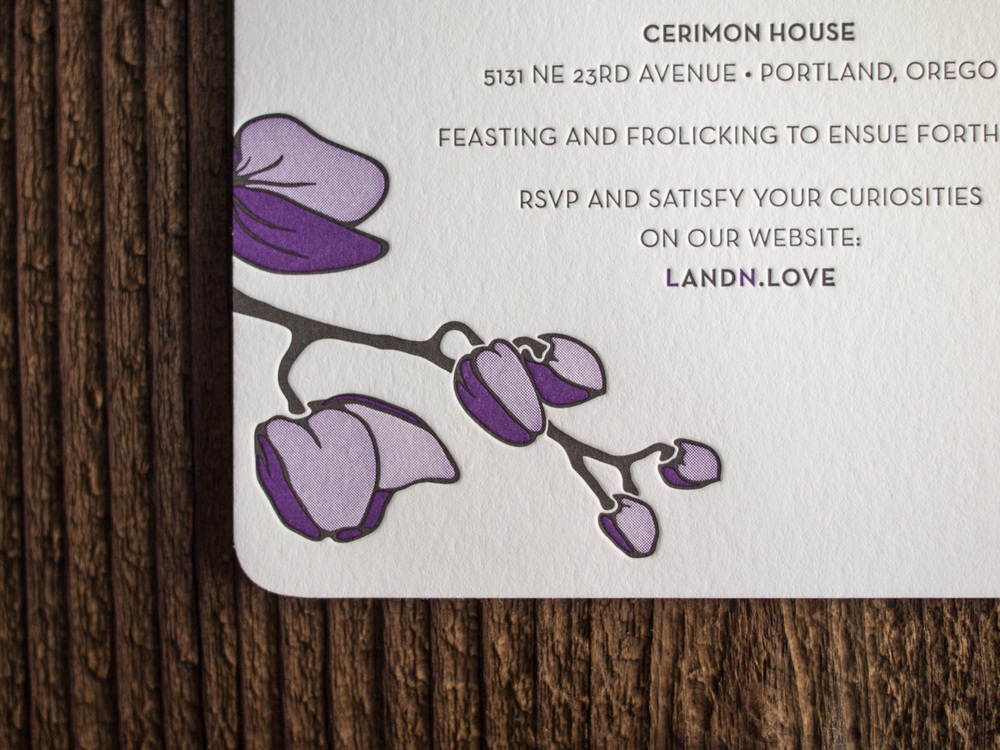 Purple Orchid Letterpress Invitation