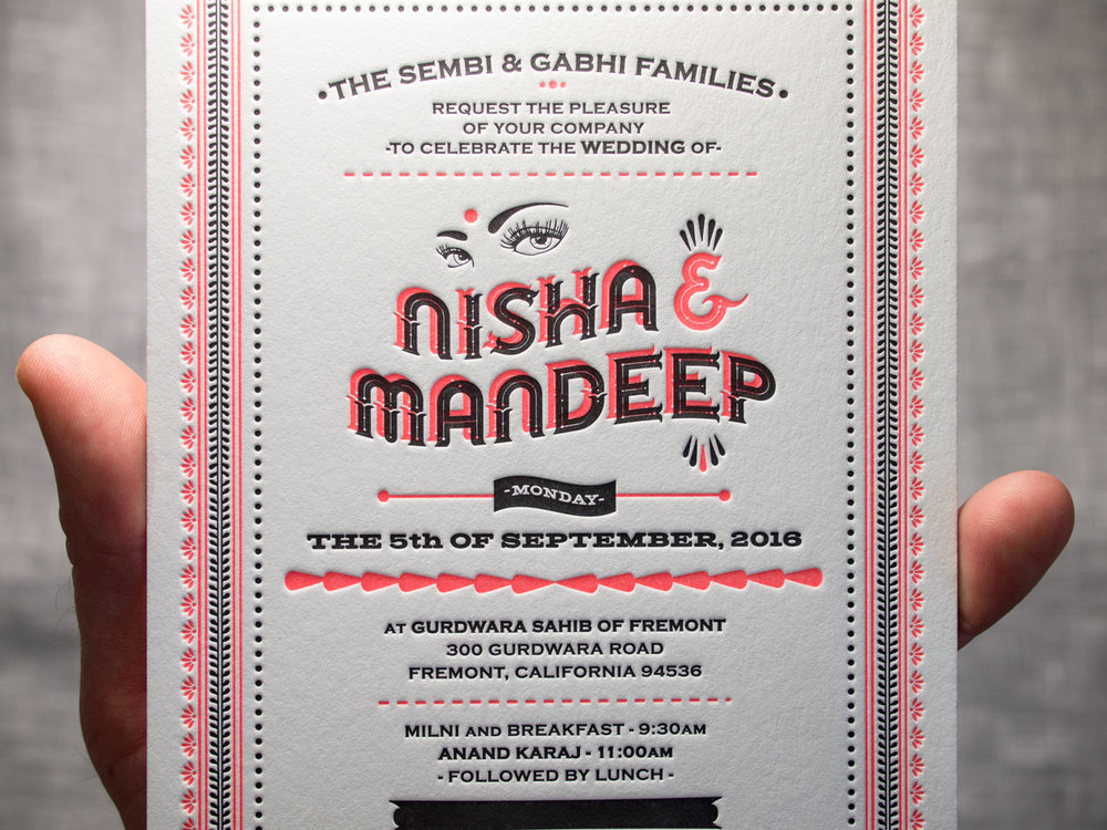 Fluorescent Orange Indian Letterpress Invitation