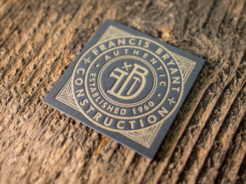 Gold on Black Letterpress Business Card
