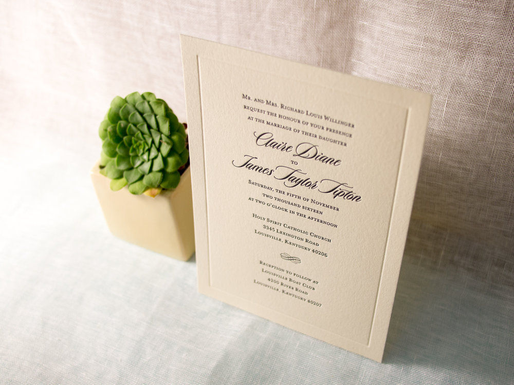 Vignette Letterpress Wedding Invitation