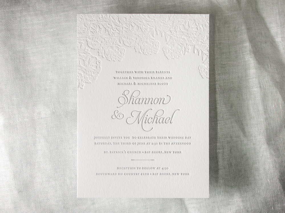 Floral Letterpress Invitation