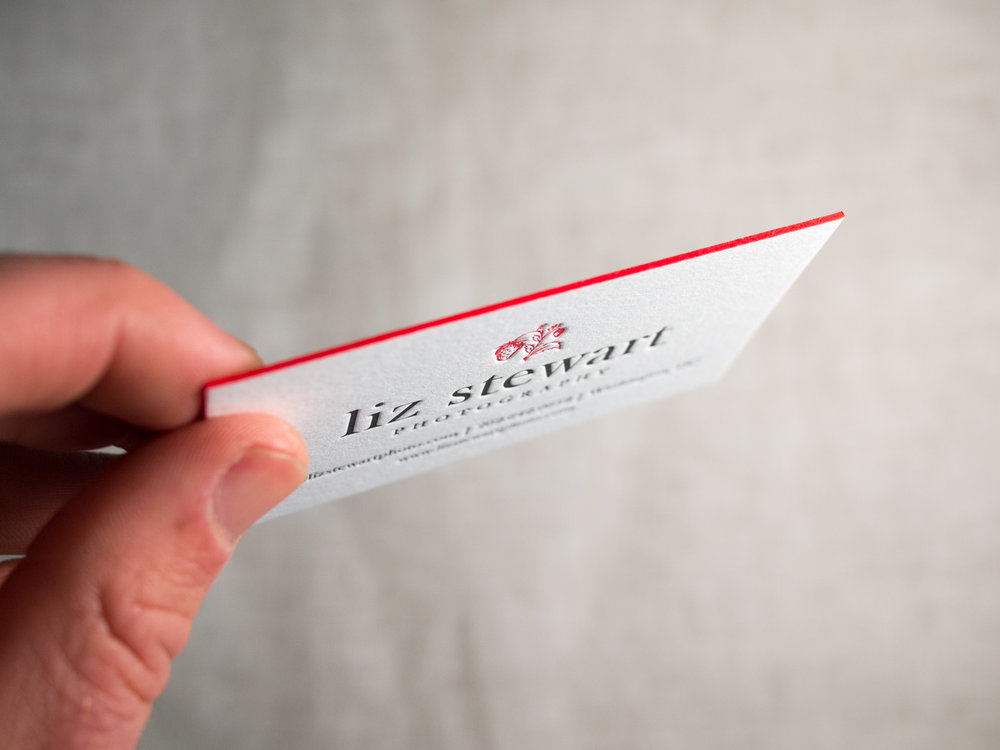 Business Card With Red Edge Paint