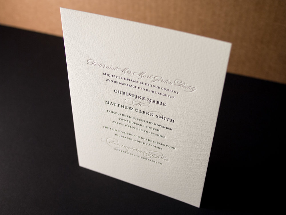 Formal Letterpress Invitation