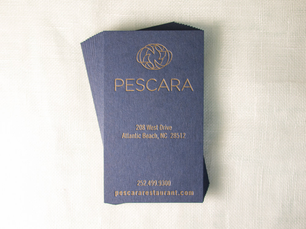 Gold & Navy Letterpress Business Card
