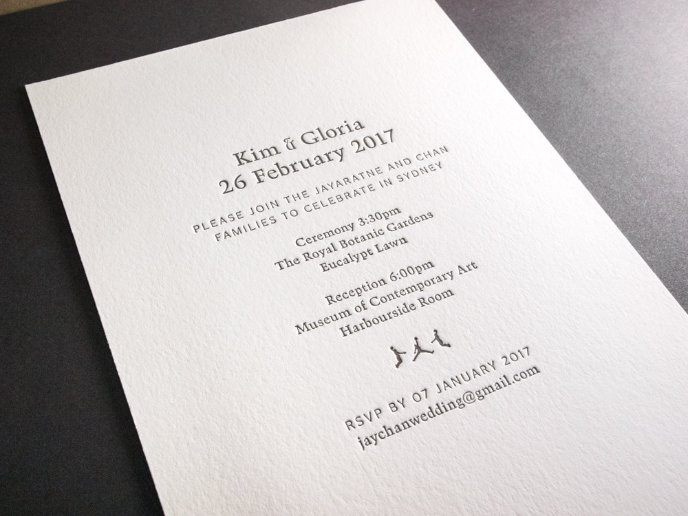 Gray Letterpress Invitation