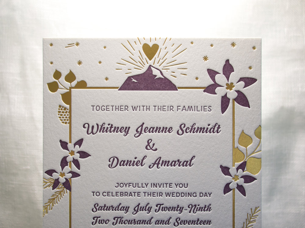 Gold Satin Foil Wedding Invitation