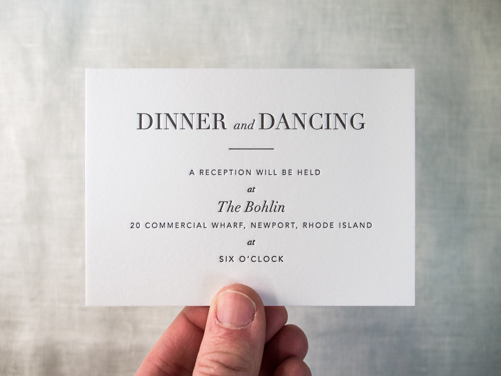 Letterpress Reception Card