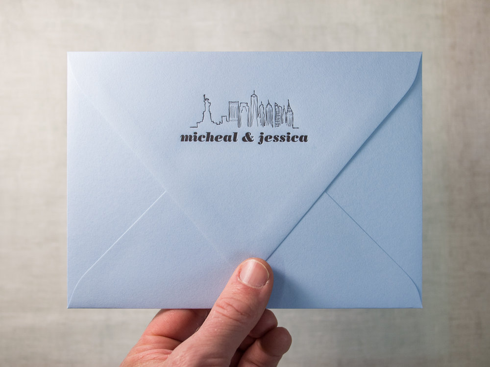 Letterpress Envelope Flap on Colorplan Azure Blue