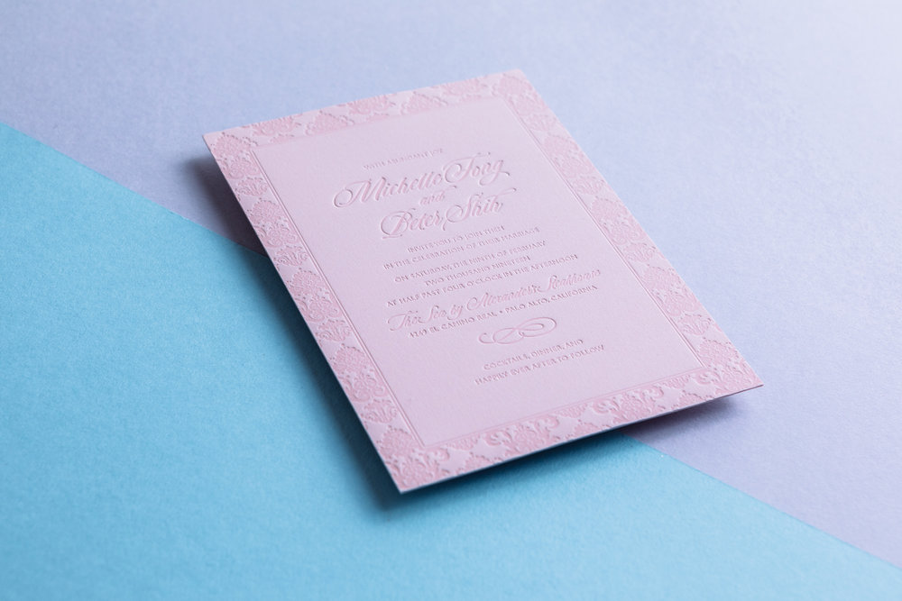 Pink Letterpress Invitation