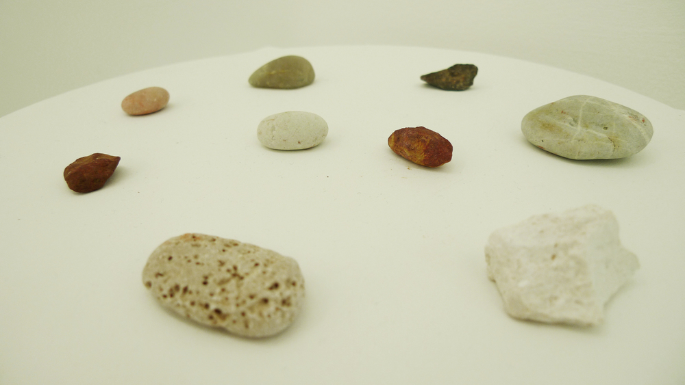 Caroline Kha,  Origins , rocks from Egypt, Australia, Croatia, Spain.  2009 - 2013, Installation view.