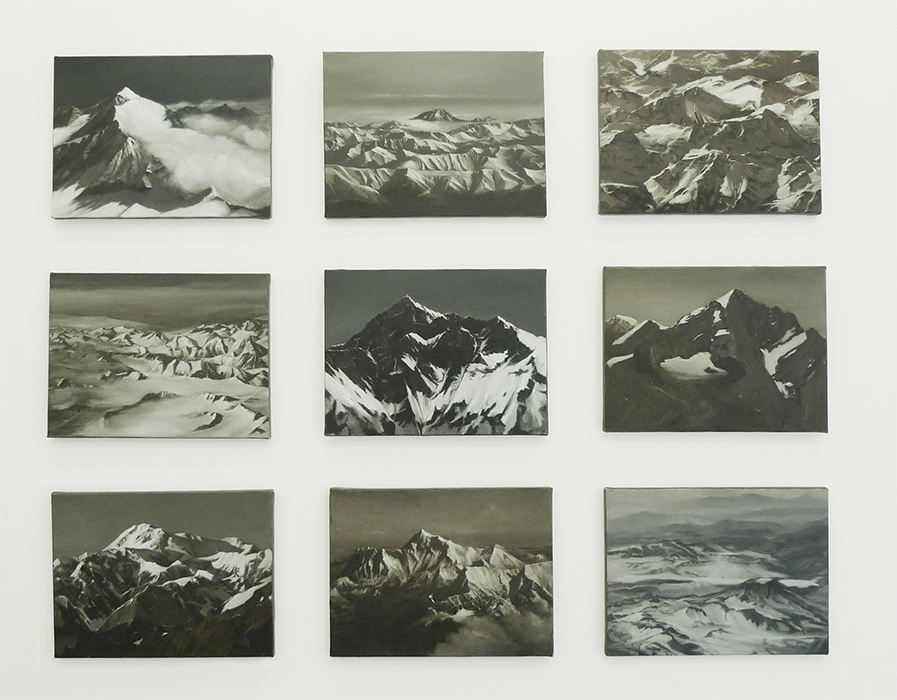 Caroline Kha, Survey: Mountains series, Oil on Canvas, Installation view, dalla Rosa Gallery ©