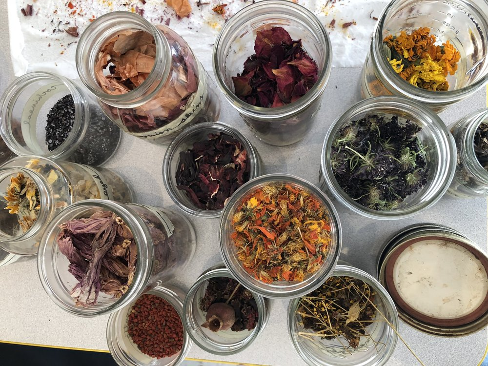 Jars filled with different dried plants.  Hibiscus, marigolds, onion skins....