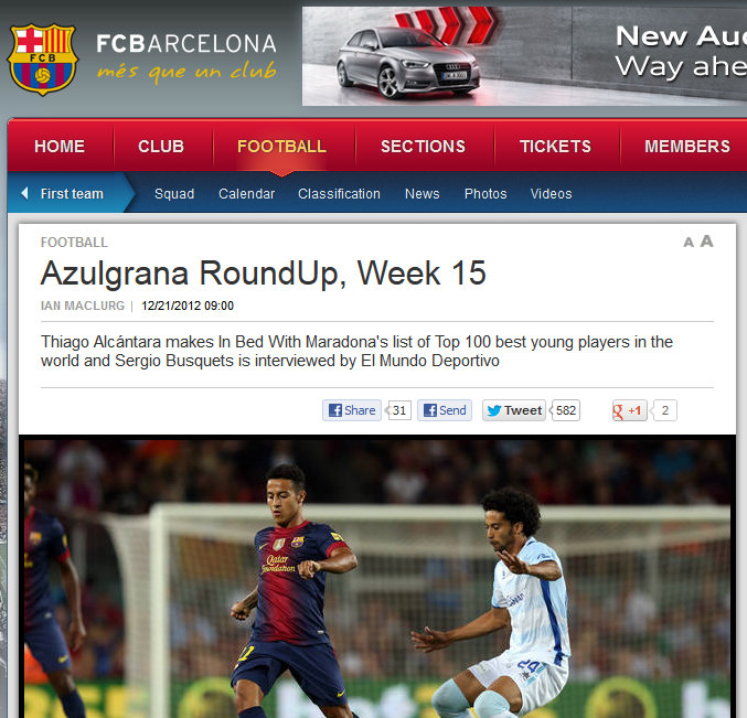 FC Barcelona official website, December 2012