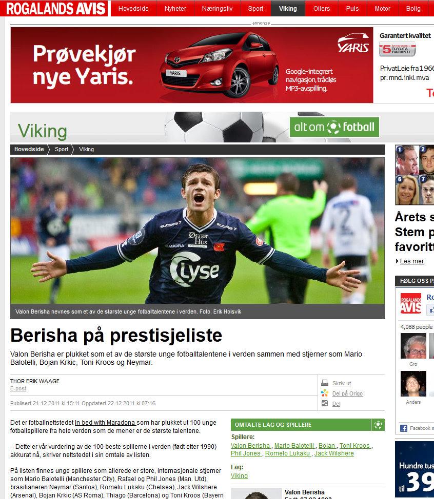 Rogalands Avis, December 2011.