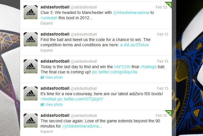 adidas football twitter feed, February 2013