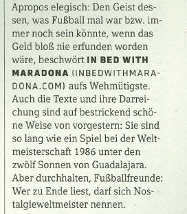 11 Freunde (Europe's biggest selling football magazine) waxes lyrical about IBWM in June 2013.