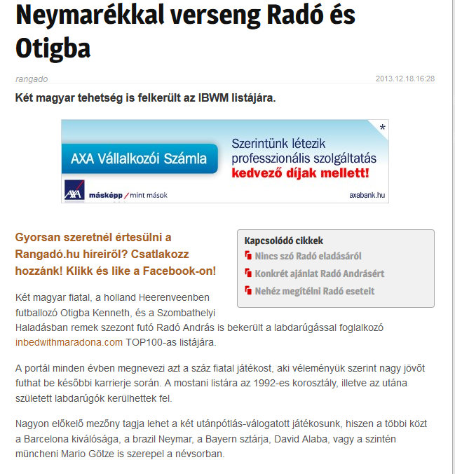 Rangado, Hungarian Daily, December 2013