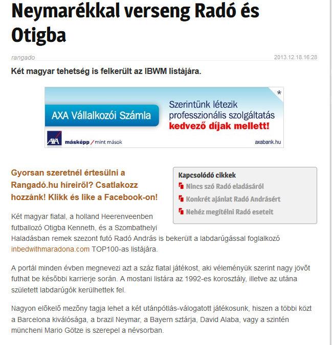 Rangado, Hungarian Daily, December 2013