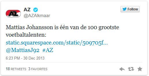 AZ Alkmaar Twitter, December 2013