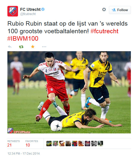 FC Utrecht Twitter account, December 2014