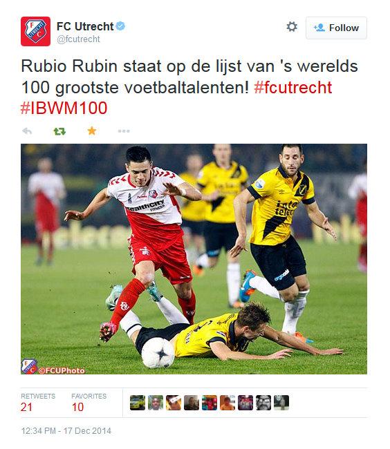 FC Utrecht Twitter account, December 2014