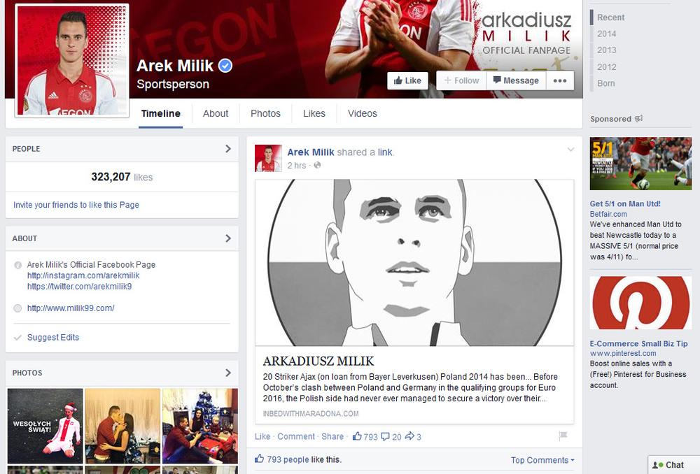 Arek Milik's Facebook Page, December 2014