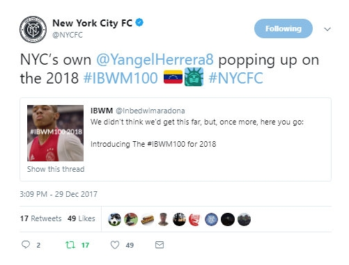 NYCFC Twitter, December 2017