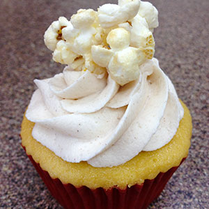 Kettle-corn Cupcake   Sweet and salty cupcake topped with a cinnamon sugar buttercream.