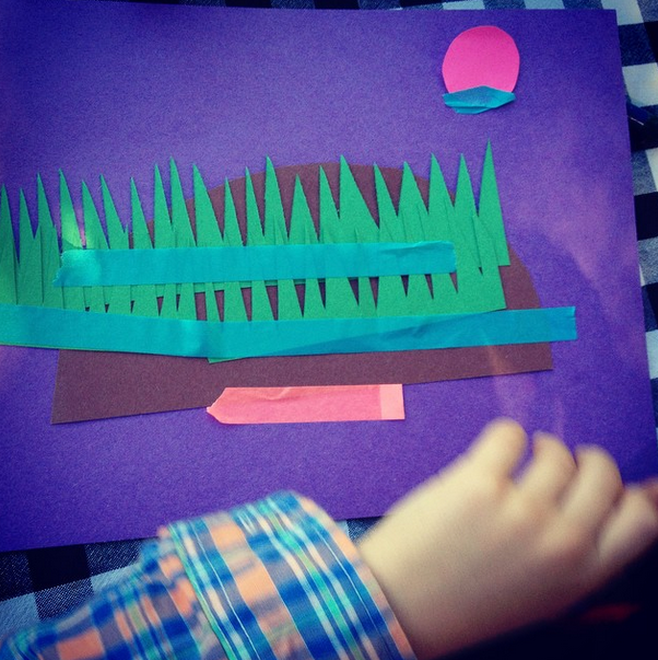 Silas, 5, creates a set with construction paper & washi tape
