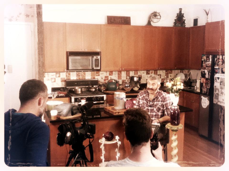 Shooting our kraut-making video with fermentation expert Sandor Ellix Katz