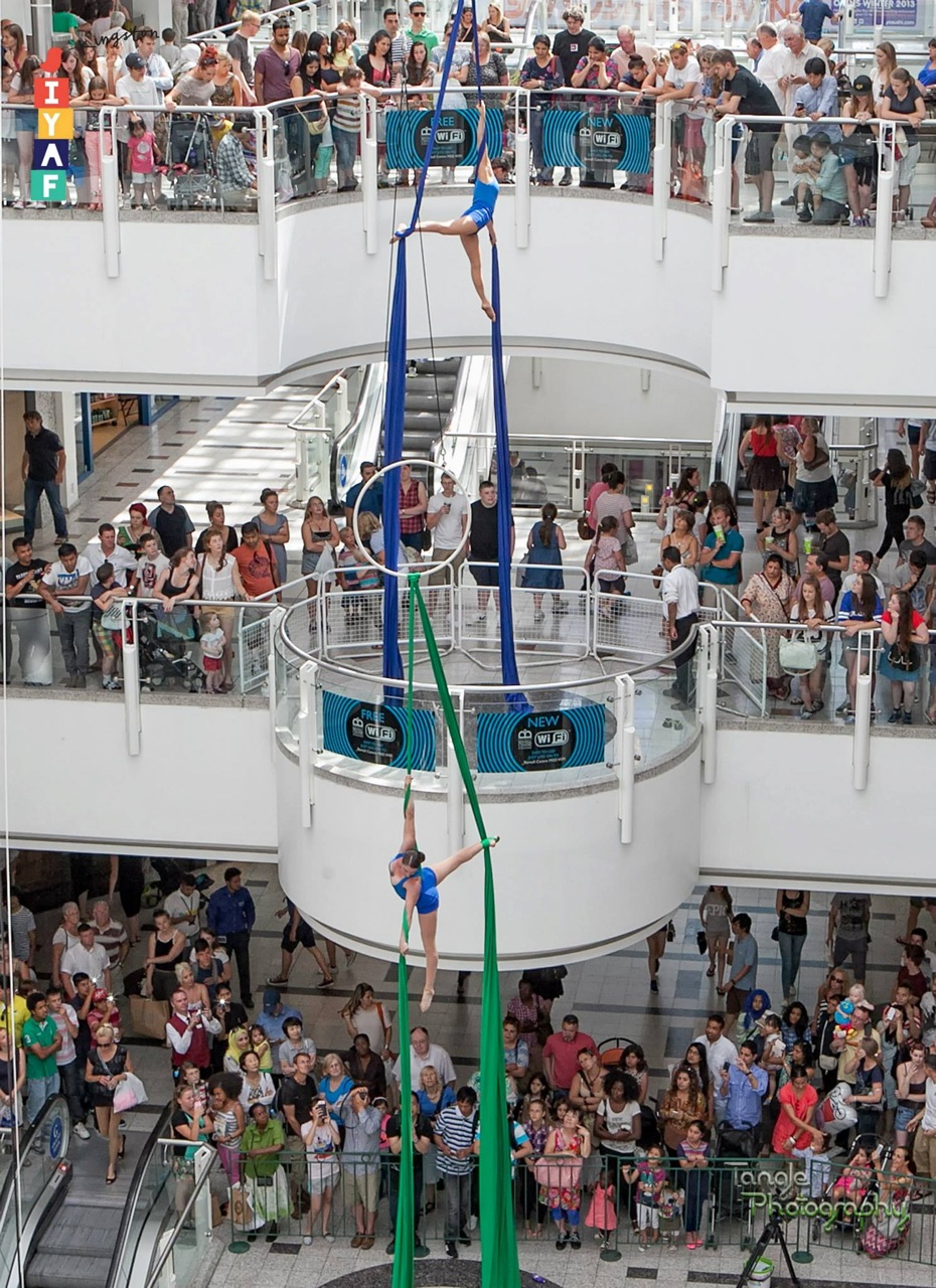Aerial performance as synchronised swimmers at The Bentall Centre in Kingston/