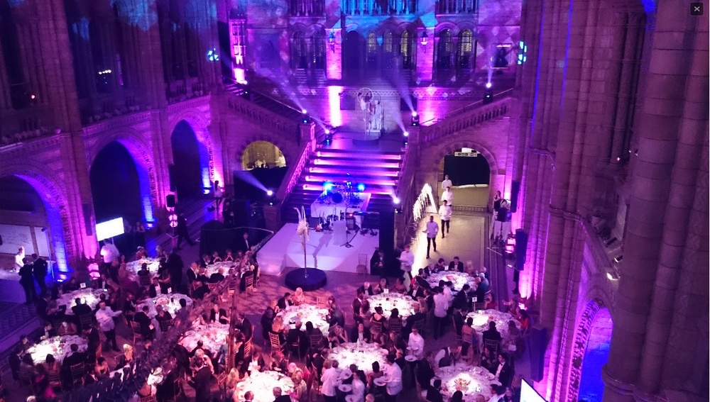 Leyla and Amy performing ambient La Luna in The Natural History Museum