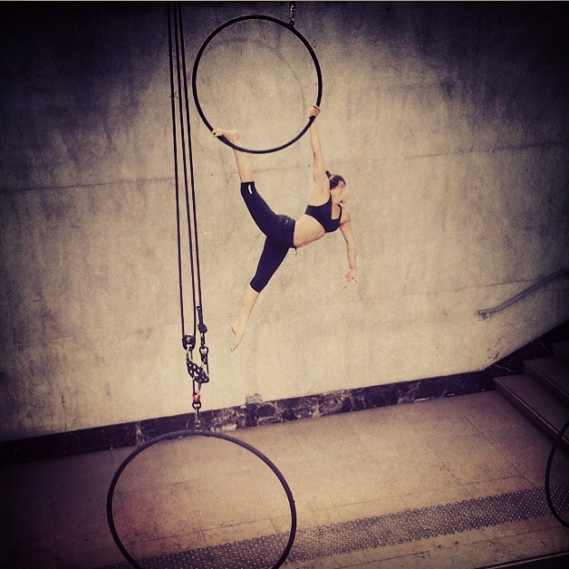 Aerial hoop fo r Nike Pro Bra  Product launch in Paris, choreography by  Ella Robson Guilfoyle.